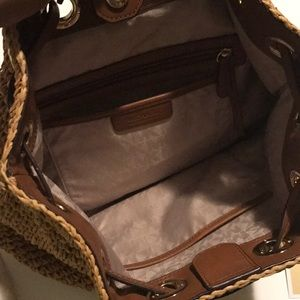 8d73ddb3ba40 Michael Kors Bags - Michael Kors Krissy Straw Natural Backpack